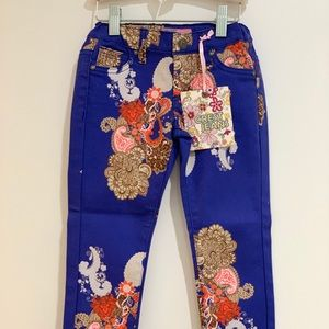 NWT Girls Paisley Print jeans size 4